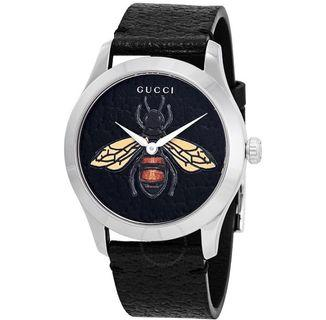 Gucci G-Timeless Black Dial Embroidered Honeybee Watch YA1264067