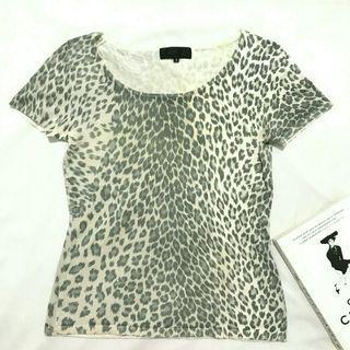 Animal print knit top import / atasan blouse rajut korean look murah