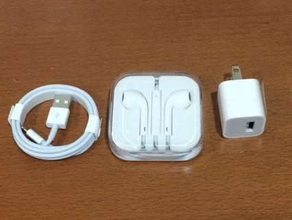 Iphone 原廠 充電線 豆腐頭 耳機 充電器 Original Apple cable charger