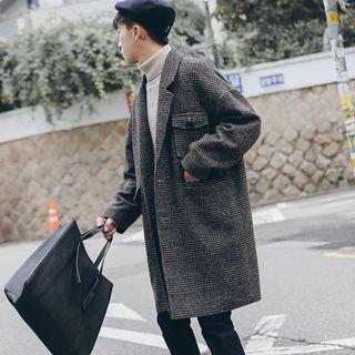 【 Gshop.】免運冬季英倫加厚夾棉格子落肩毛呢大衣男中長款寬鬆呢子外套