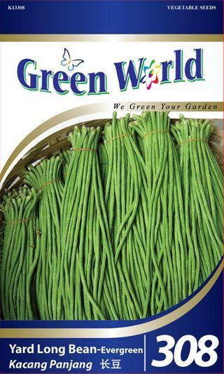 Green World 50 Seeds - Biji Benih Kacang Panjang Yard Long Bean-Evergreen