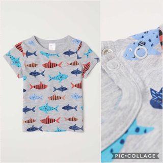 Kaos anak H&M Fish size 12-18m
