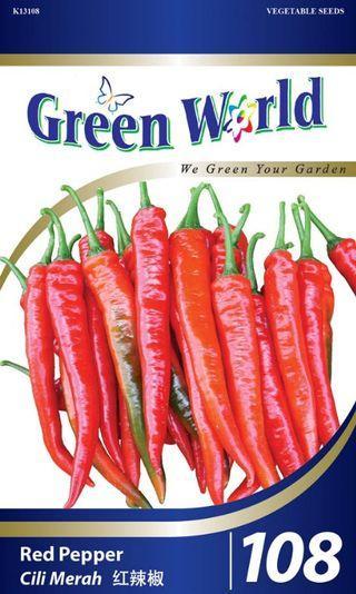 Green World 100 seeds - Biji Benih Cili Merah Red Pepper