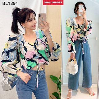 BL1391 Blouse motif import blouse pendek import blouse pantai baju imoort wanita blouse crop blouse pesta party blouse
