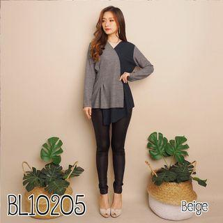 Bl10205 blouse panjang kekinian blouse kerja panjang blouse vneck blouse formal blouse kombinasi warna blouse kimono blouse kondangan