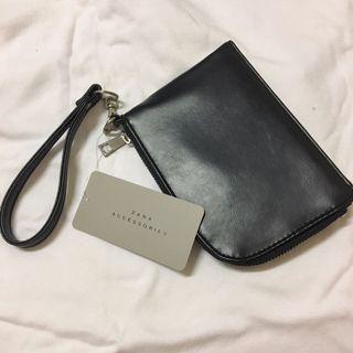 Zara black leather hand case 黑色皮革手拿包 小錢包