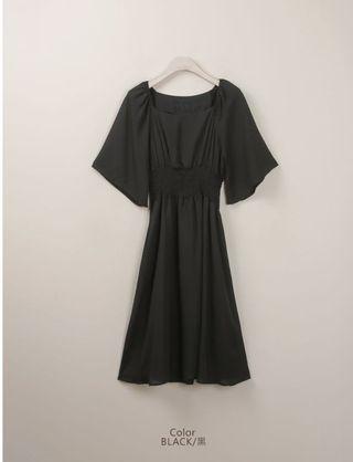 450元🉐️未拆吊牌 全新 Polylulu縮腰方領 黑色洋裝 裙子  #五折清衣櫃