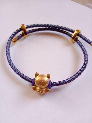 Gelang tali bracelet emas asli mainan kucing