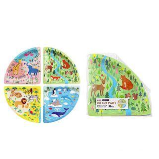 可愛動物三角形型免洗餐盤/紙盤(8個入)