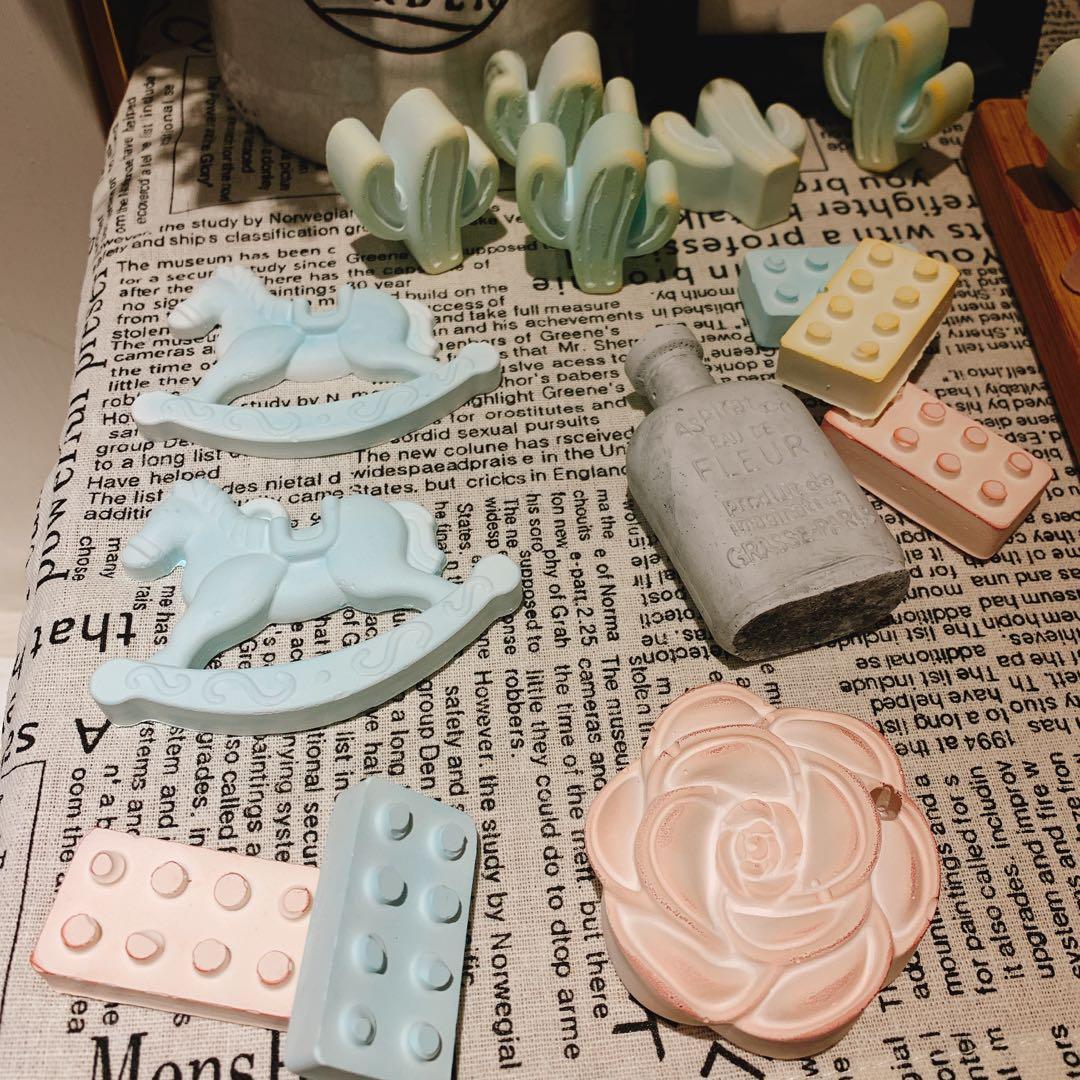 造型擴香石水泥蠟燭台香氛精油硅藻土 婚禮小物 探房禮