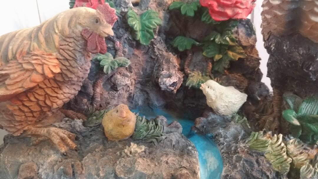 「花開富貴雞吉祥」滾珠造景流水盆—古物舊貨、早期造景藝品收藏