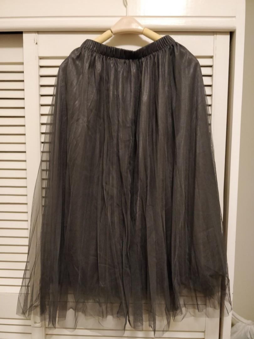 黑灰色半截紗裙  Dark gray lace skirt
