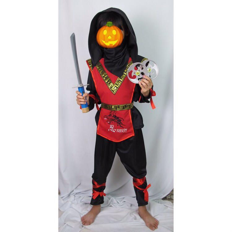 萬聖節兒童服裝 忍者紅、黑武士