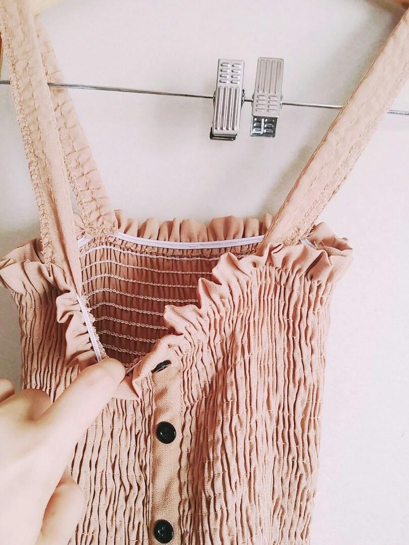 奶茶色彈性背心長裙洋裝  #五折清衣櫃