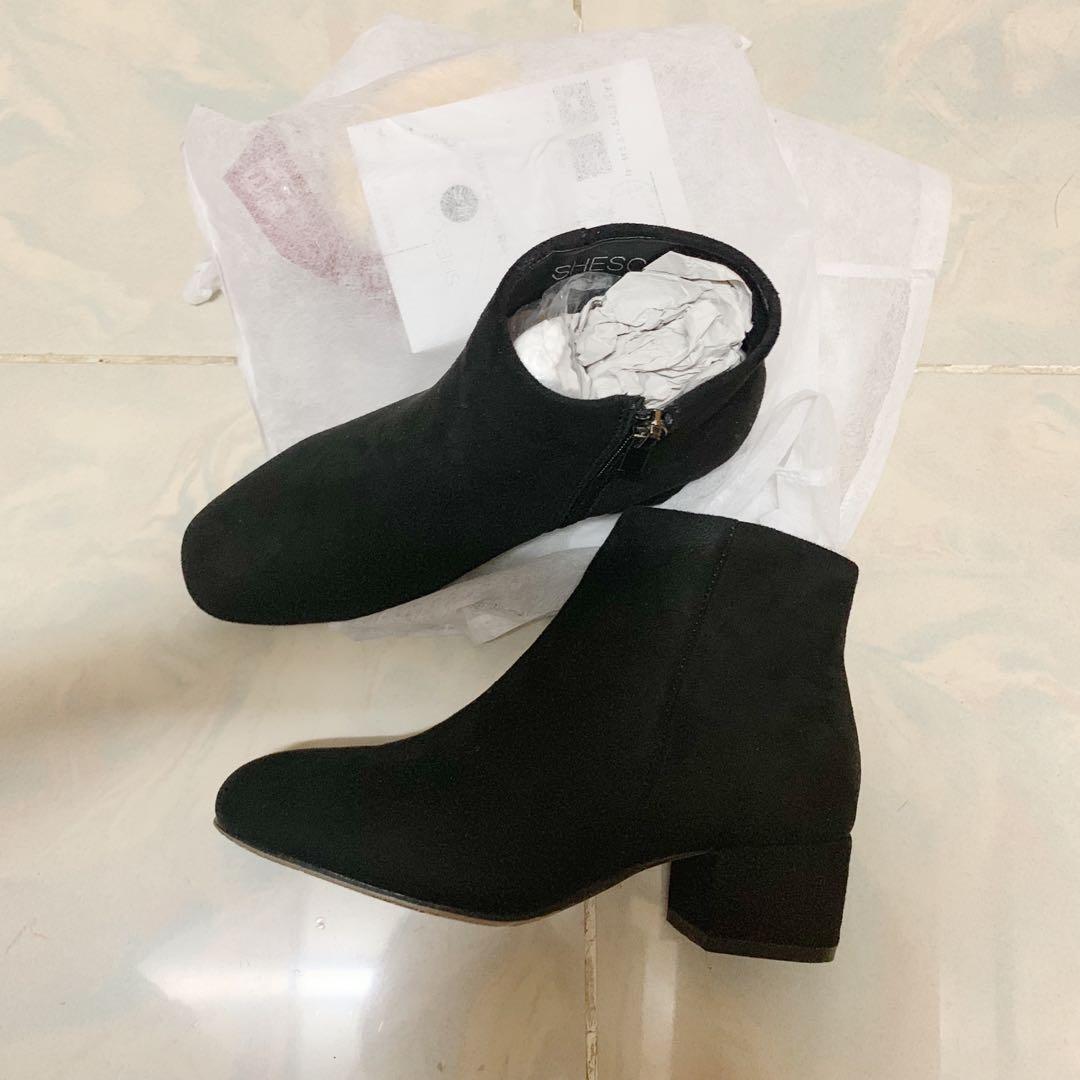 黑色麂皮短靴 短boot Ankle Boots 36SIZE 女裝鞋 women Shoe