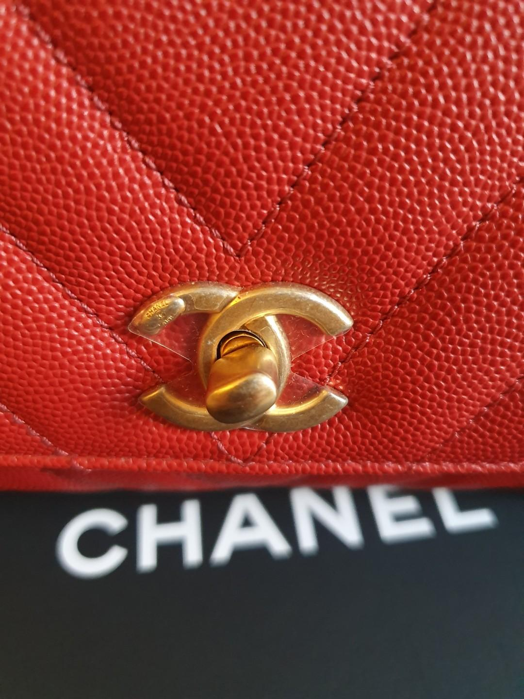 ❤ Chanel 19A Red Chevron Mini Coco Handle with Brushed GHW ❤