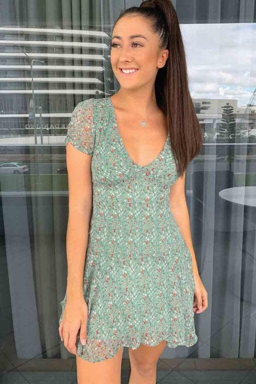 Amore Mini Dress - Green Floral Print Size 12 BNWT