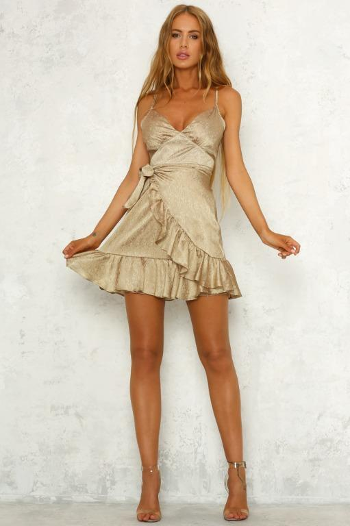 Angels Calling Us Dress in Gold by Hello Molly Size 10