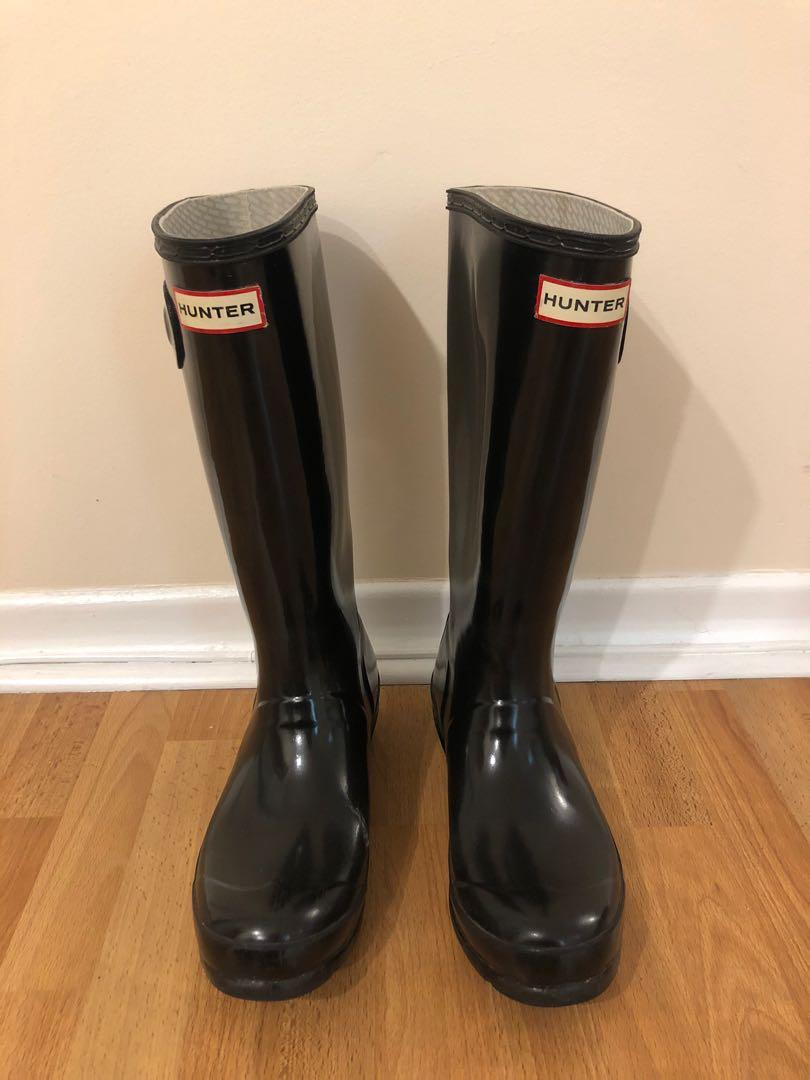 Black glossy hunter boots (youth size 5/ fits women's 6)
