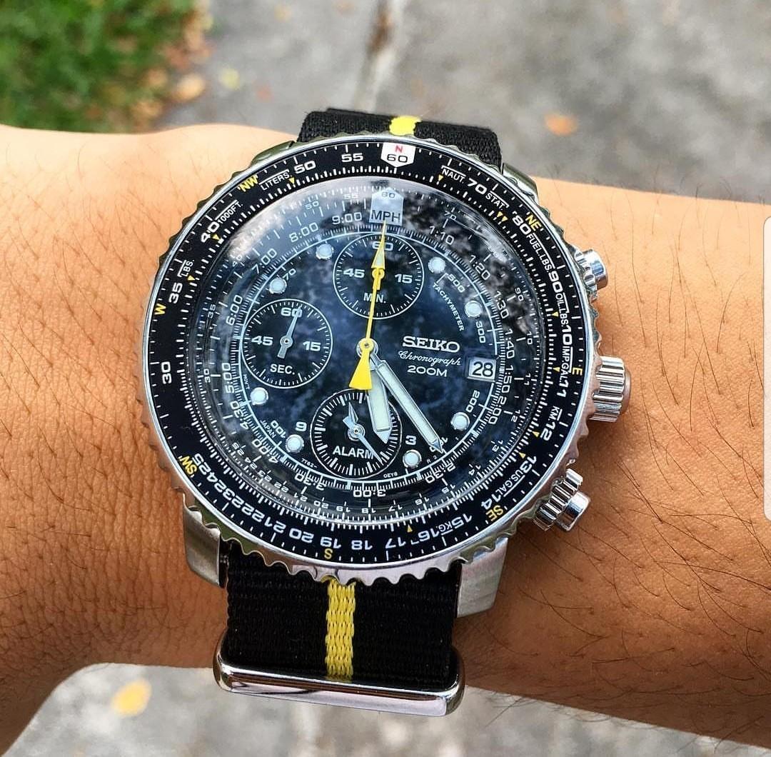 [BNIB] Seiko Flightmaster Chronograph SNA411 SNA411P1 Quartz Men's Aviator Watch