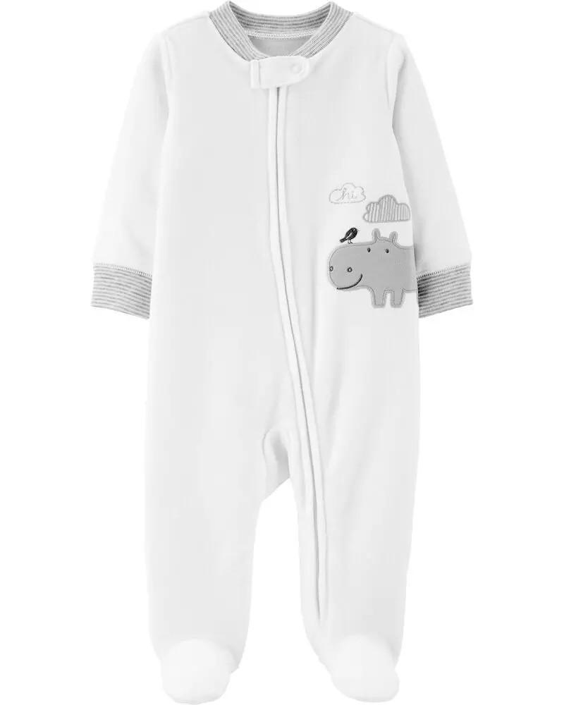 Carters hippo fleece zip up sleep & play (9m)