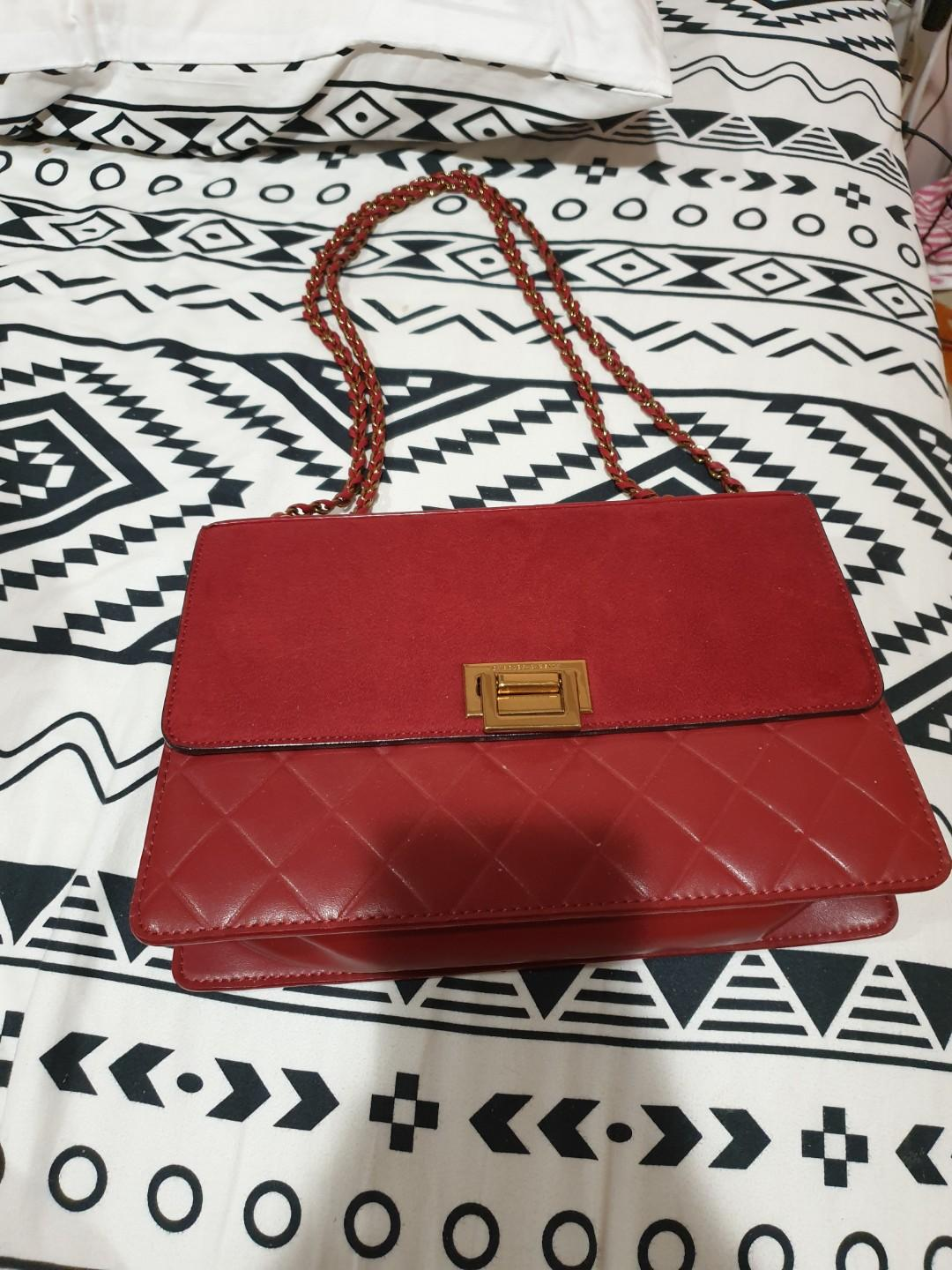 Charles and Keith Red Chain Bag