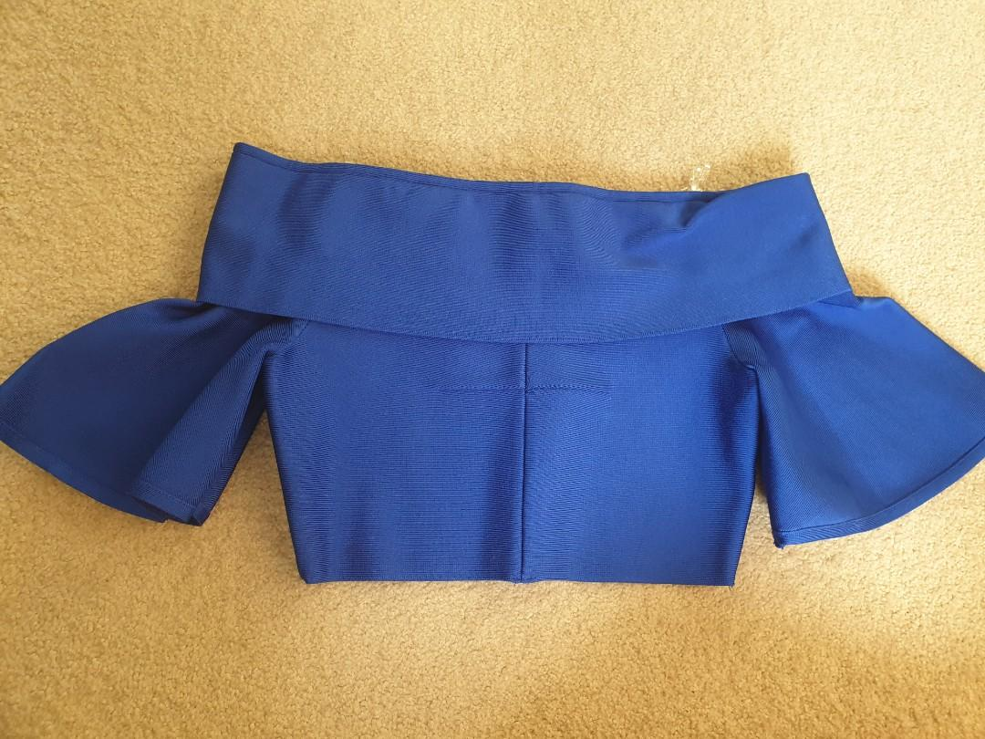 Elliatt collective off shoulder electric blue crop top