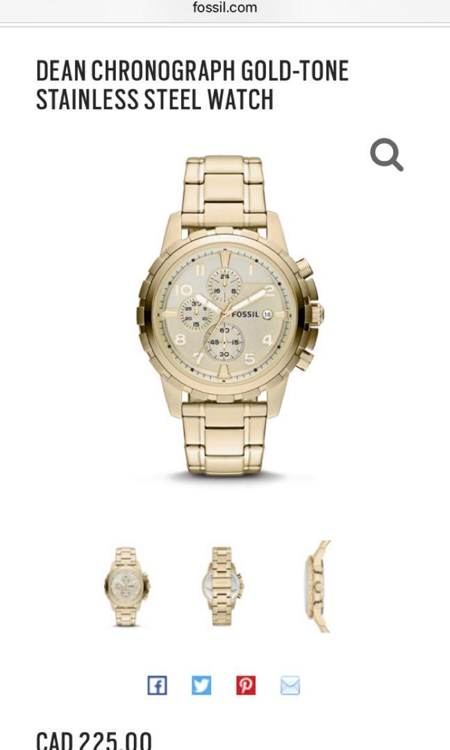 Fossil Dean Chronograph Gold tone stainless steel watch