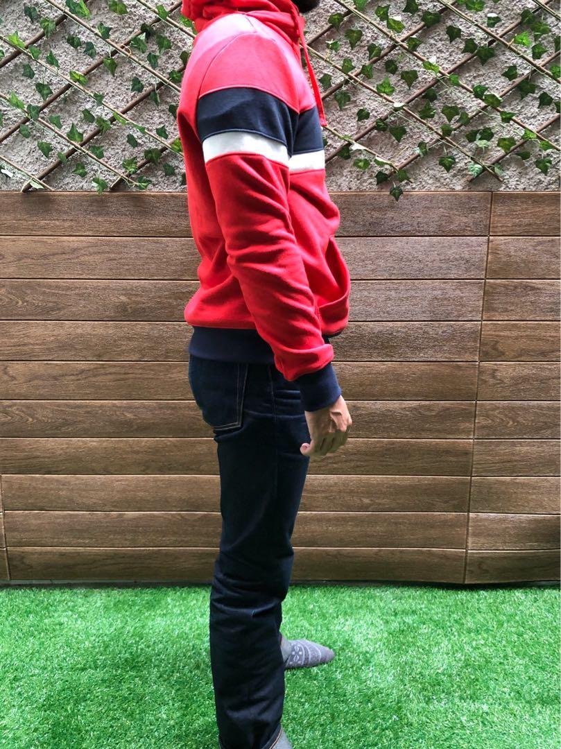 H&M Chimney Collar Color Block Pullover Red Black Stripes