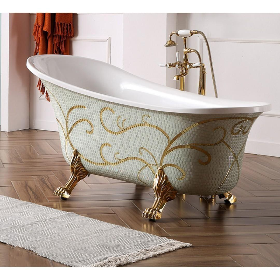 Inovo Luxury Bathtub Rain Shower Bath Tub Rainshower Basin Tap Cabinet Plumbing Interior Designer Bathroom