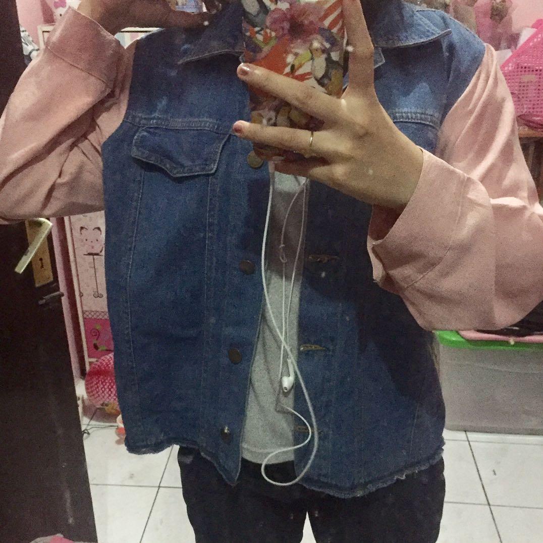 Jaket jeans mix kain dusty pink clo id