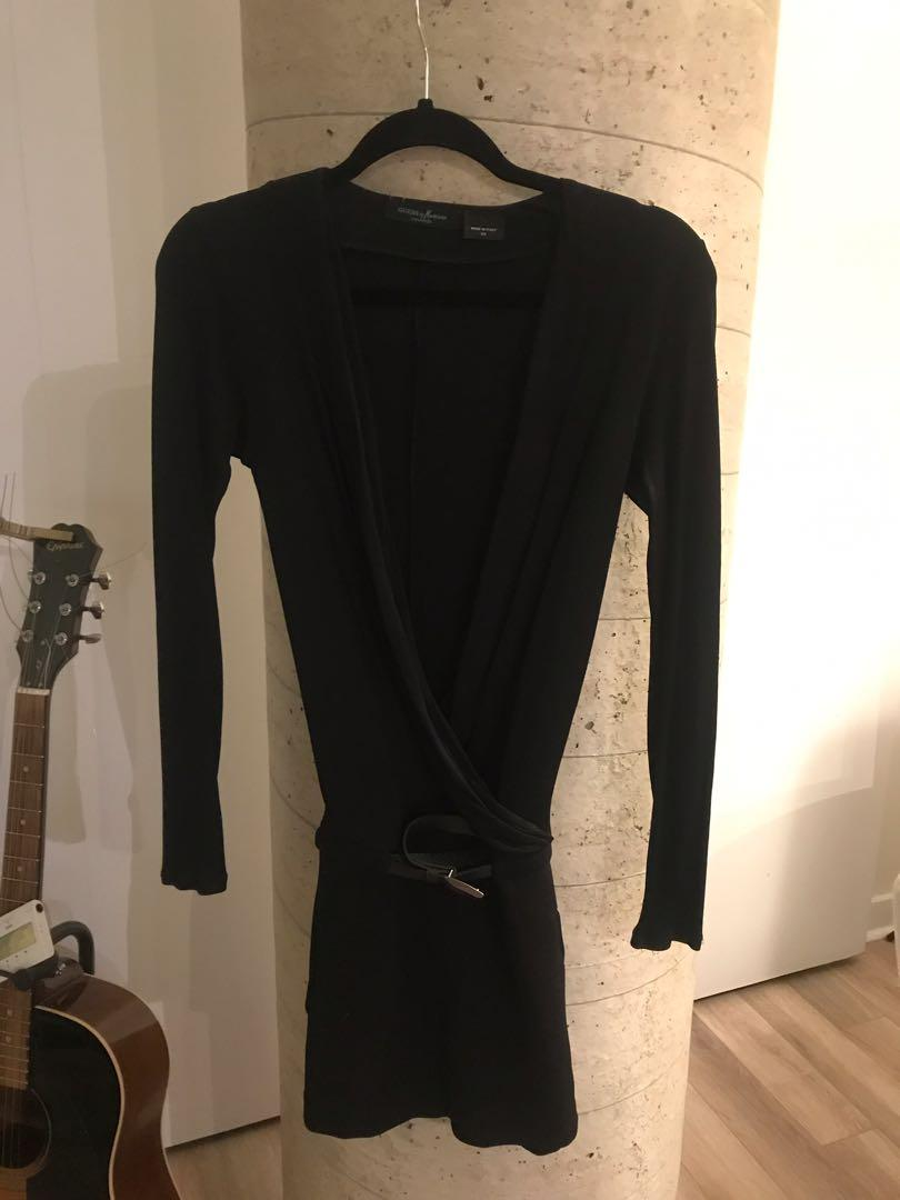 Marciano Black Long Sleeve Belted Plunging Neckline Dress Size XS