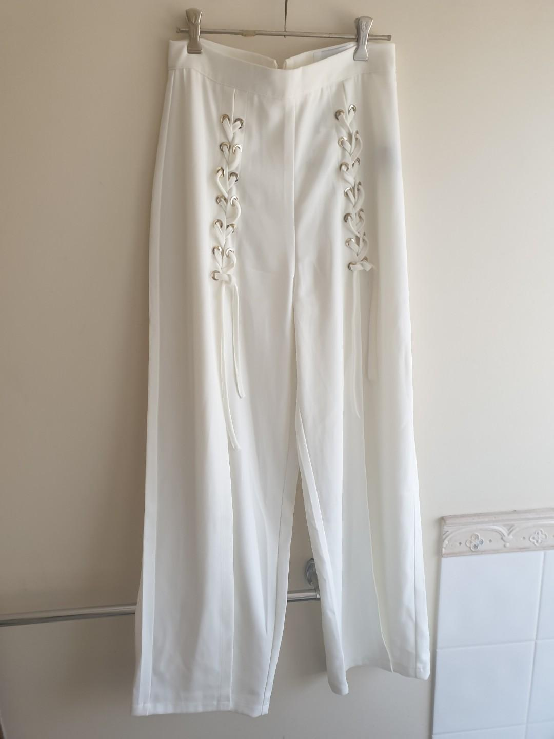 NEW ivory and chain pants