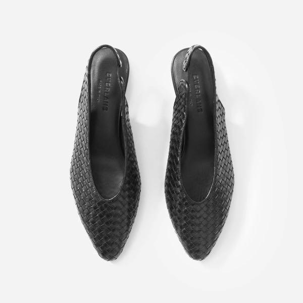 *NWOB* Everlane The V Slingback in Black Woven Size 7.5