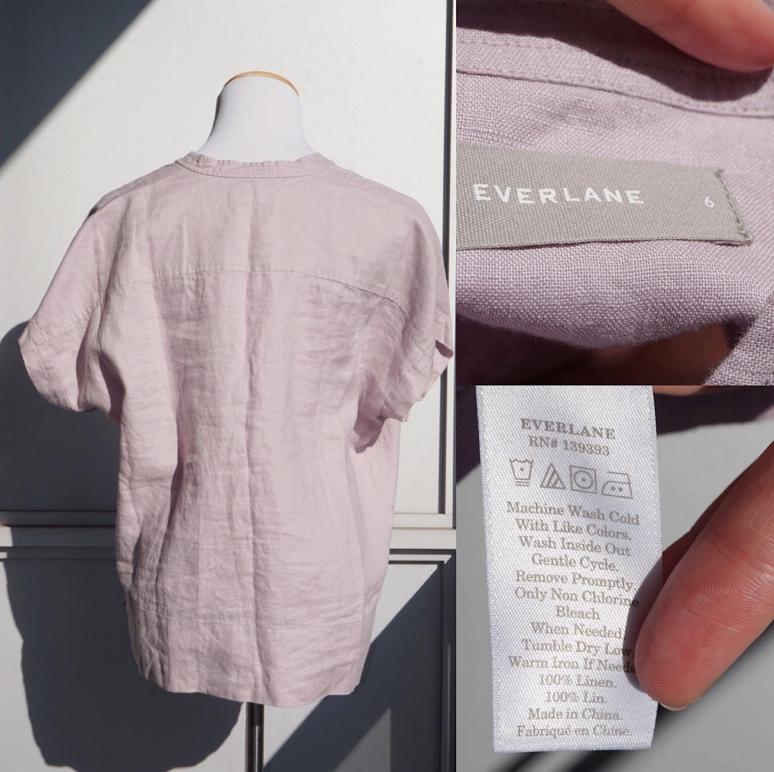 *NWOT* Everlane Linen Split Neck Top In Lavender Size 6