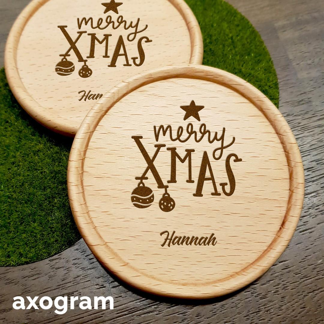 Personalized Merry Xmas Coaster - Star