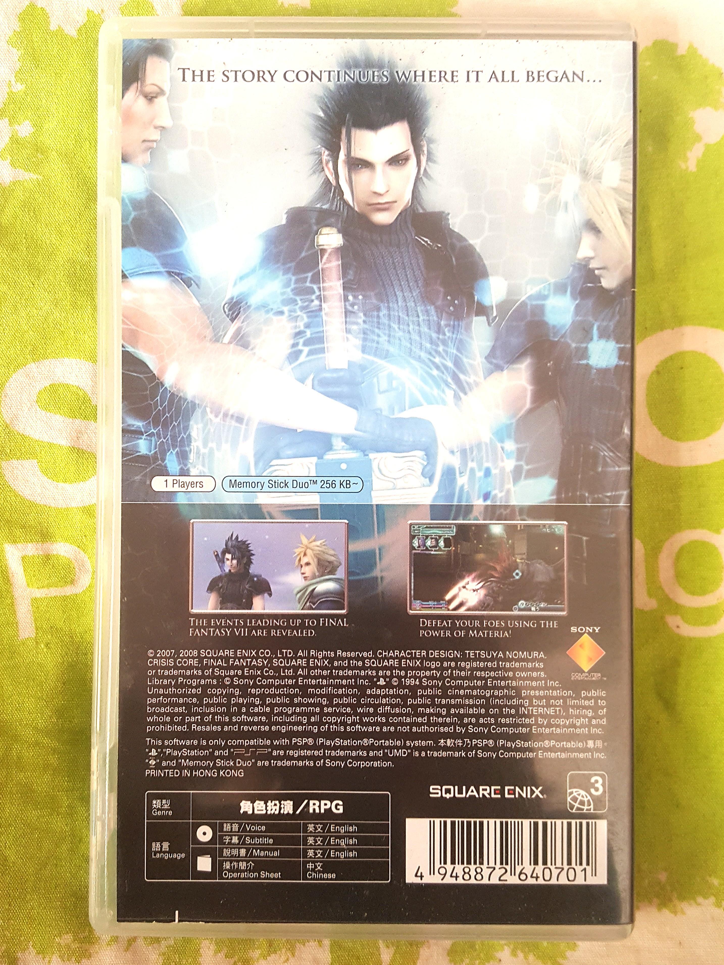 Psp Game, Crisis Core Final Fantasy VII, English Ver. 100% Work.