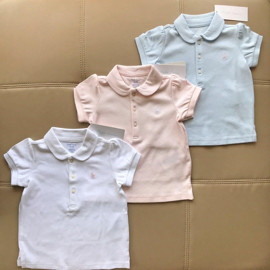 RALPH LAUREN Baby Girl Light Beryl Blue Cotton Polo Shirt with Collar 18M