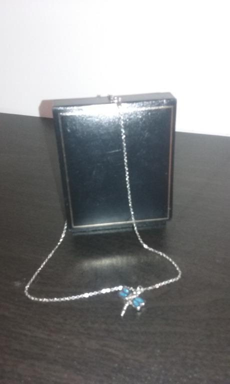 """Sliver plated chain 16"""" with dragonfly pendant in blue and silver"""