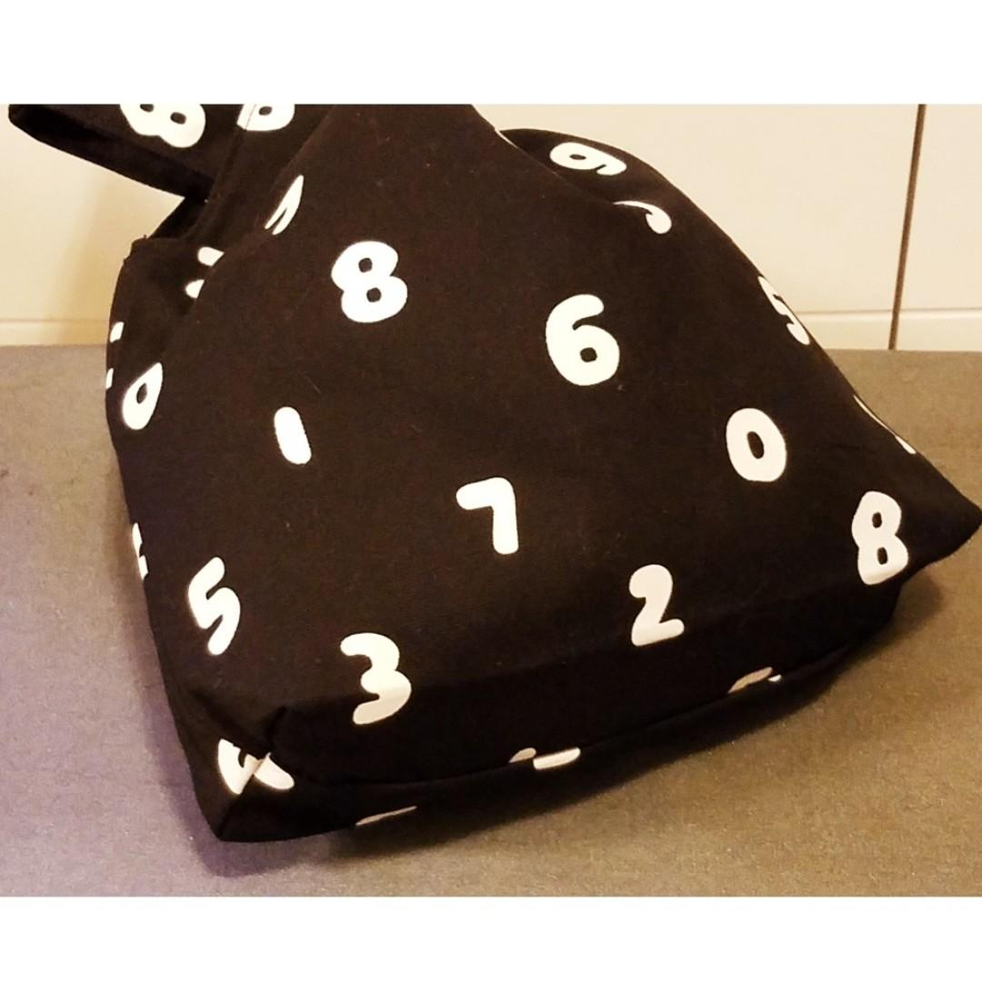 SouSou 數字 印花帆布 日式小手袋 束口布袋 小手袋 放便袋 手挽袋 收納袋 (包平郵)