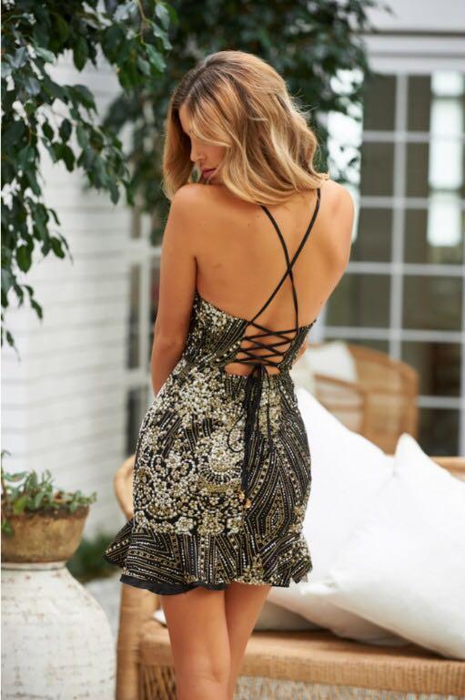 Sparkly Grand Central Dress Black Glitter - Size 10 (M)