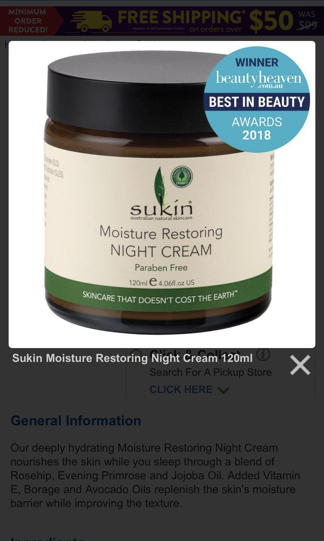 Sukin moisture restoring night cream