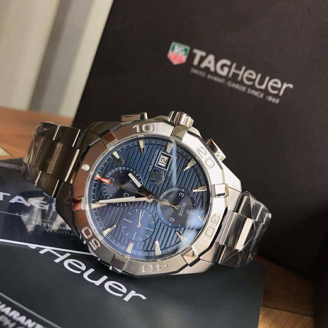 TAG AQUARAC3R SERIES CHRONOGRAPH ETA7750 MECHANICAL MOVEMENT BLUE DIAL 316L STEEL CASE