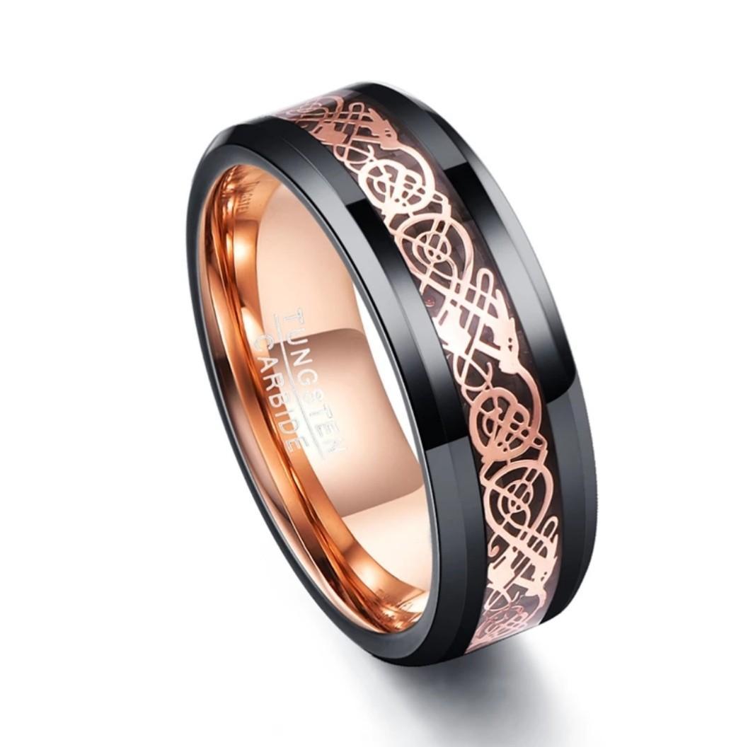 Tungsten carbide rose gold inlay men / women ring