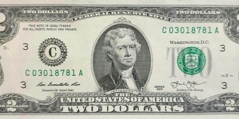 USD 2 Dollars note
