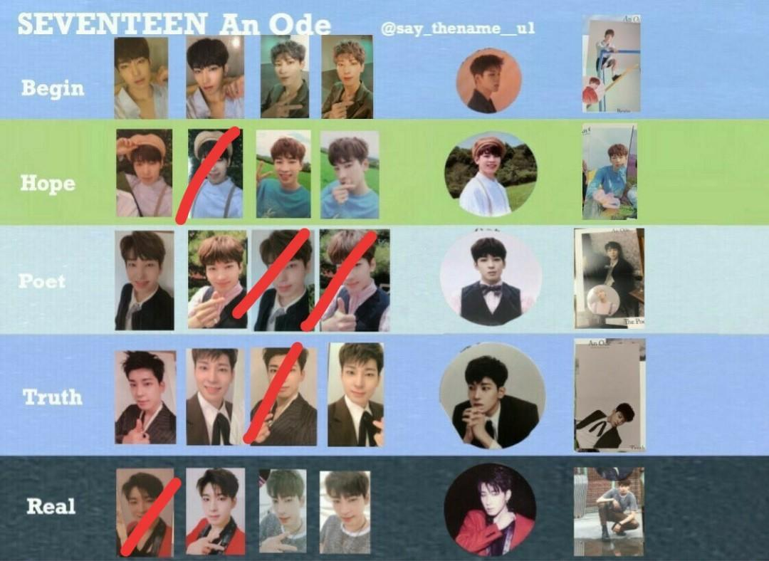WTB Seventeen An Ode Hope Ver. All Mingyu and Wonwoo PC,small poster,sticker