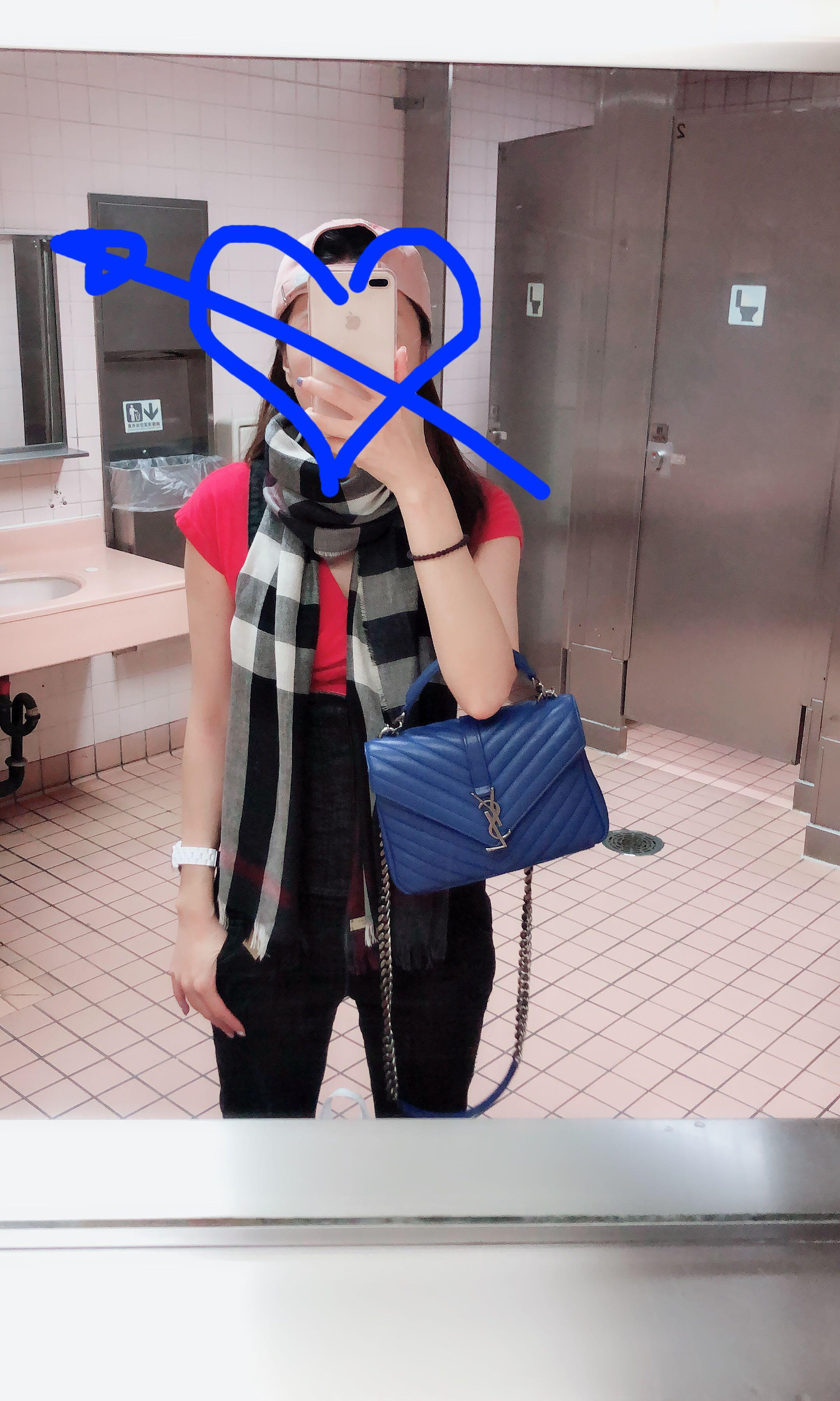 YSL復古藍學院包(中)