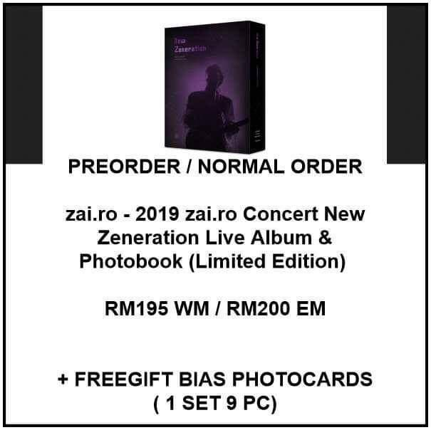 zai.ro - 2019 zai.ro Concert New Zeneration Live Album & Photobook Limited Edition  - PREORDER/NORMAL ORDER/GROUP ORDER/GO + FREE GIFT BIAS PHOTOCARDS (1 ALBUM GET 1 SET PC, 1 SET GET 9 PC)