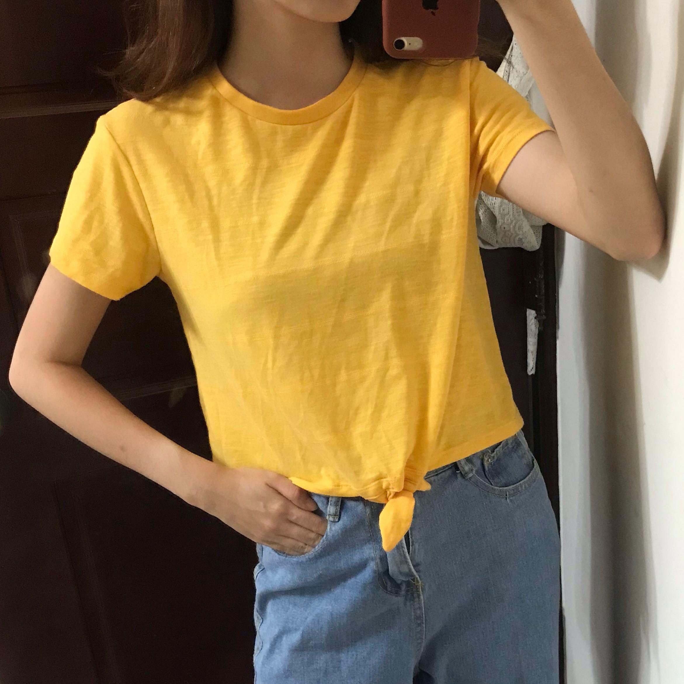Zara微透膚綁帶黃上衣