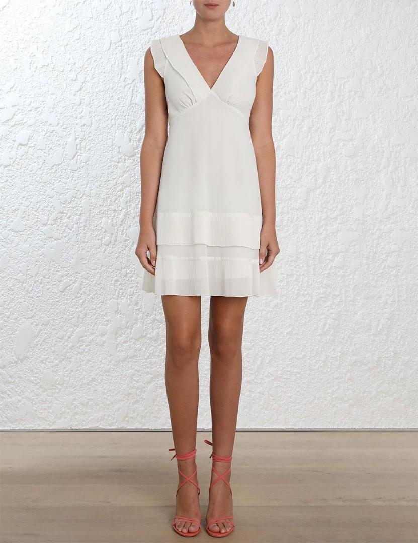 Zimmermann Pleat Tier Mini Dress in White - Size 0 RRP $450